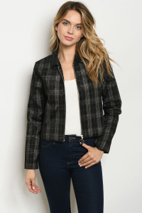S21-2-1-J2363 BLACK CHECKERED JACKET 3-2-1
