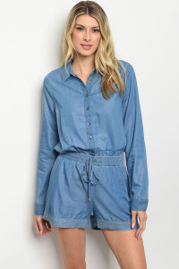 S7-7-3-R156 BLUE DENIM ROMPER 2-2-2