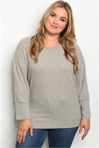 S23-7-2-T5070X GRAY PLUS SIZE TOP 1-2-1