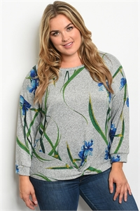 S23-7-2-T5064X GRAY BLUE PLUS SIZE TOP 3-2-2