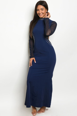 S24-2-1-D6516 NAVY WITH STONES DRESS 2-2-2  ***WARNING: California Proposition 65***