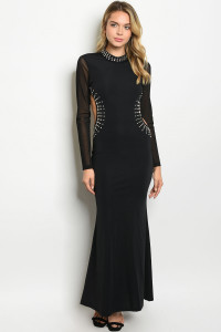 S21-12-3-D6516 BLACK WITH STONES DRESS 1-1-3  ***WARNING: California Proposition 65***