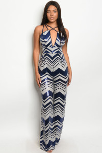S23-4-1-J7456 NAVY CREAM WITH SEQUINS JUMPSUIT 2-2-2  ***WARNING: California Proposition 65***