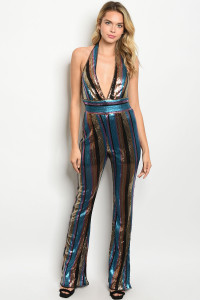 S19-12-5-J7455 MULTI COLOR WITH SEQUINS JUMPSUIT 2-2-2  ***WARNING: California Proposition 65***