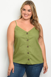 C12-B-7-T3189X OLIVE PLUS SIZE TOP 2-2-2