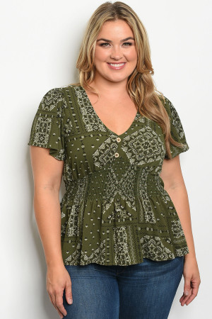 C12-B-5-T3264X GREEN WITH PRINT PLUS SIZE TOP 2-2-2