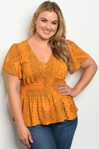 C4-B-1-T3264X MUSTARD WITH PRINT PLUS SIZE TOP 2-1-2