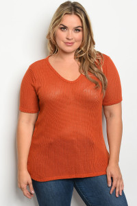 C4-A-1-T3349X RUST PLUS SIZE TOP 2-1-2