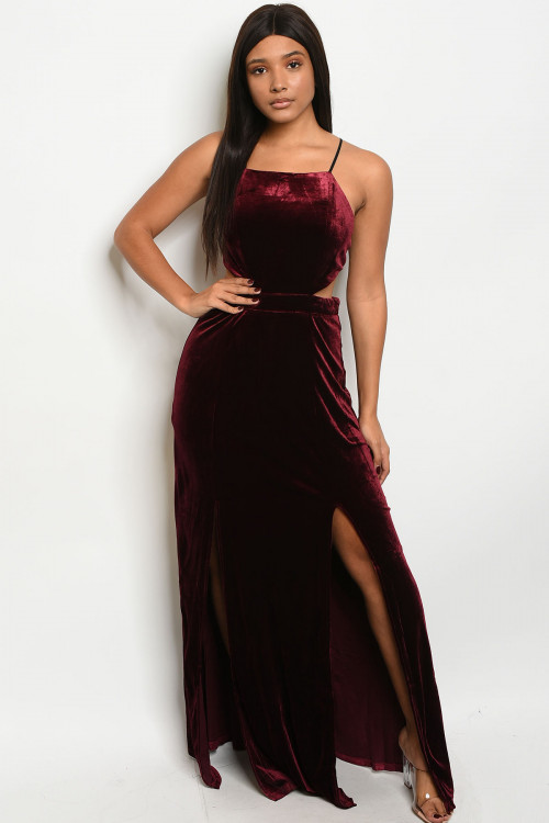 S19-9-1-D4452 WINE VELVET DRESS / 4PCS