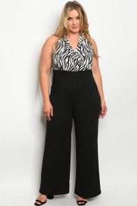 C12-A-5-J2072X BLACK WHITE ANIMAL PRINT PLUS SIZE JUMPSUIT 2-2-2