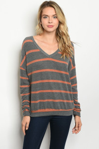 C27-B-7-T85285S GRAY RUST STRIPES TOP 2-2-2