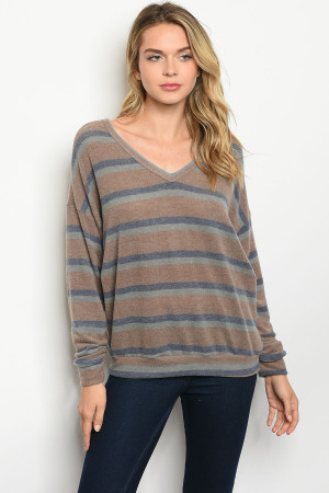C23-B-6-T85285S TAUPE NAVY STRIPES TOP 2-2-2