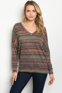 S11-19-4-T86072 WINE BROWN STRIPES TOP 2-2-2