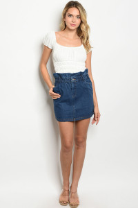 S20-8-1-S82033 BLUE DENIM SKIRT 3-2-1