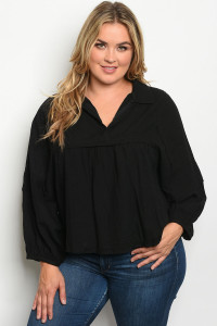 S14-1-2-T7514X BLACK PLUS SIZE TOP 2-2-2