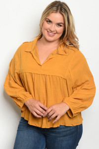 S13-2-4-T7514X MUSTARD PLUS SIZE TOP 2-2-2