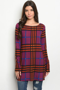 S17-5-4-T7776 PURPLE RUST CHECKERED TOP 1-1-1