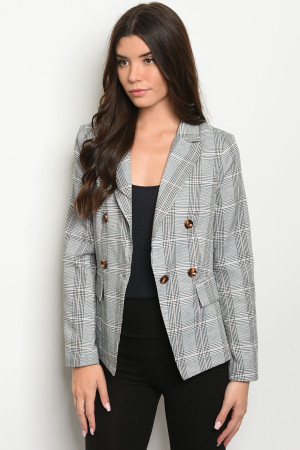 S23-13-5-J9934 GRAY CHECKERED BLAZER 2-2-2