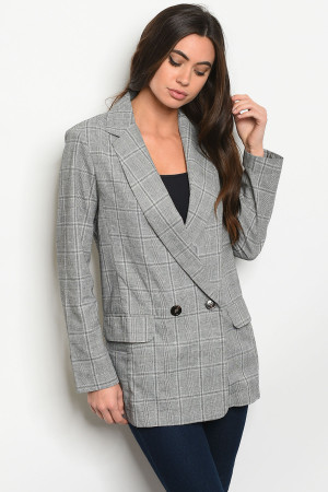 S8-14-5-J43106 GRAY CHECKERED JACKET 1-2-2-1