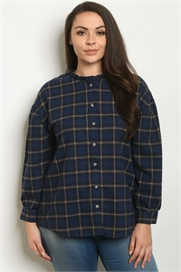 S11-8-4-T13817X NAVY CHECKERED PLUS SIZE TOP 3-2-1