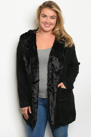 S11-14-3-C00484X BLACK PLUS SIZE CARDIGAN 3-2-1