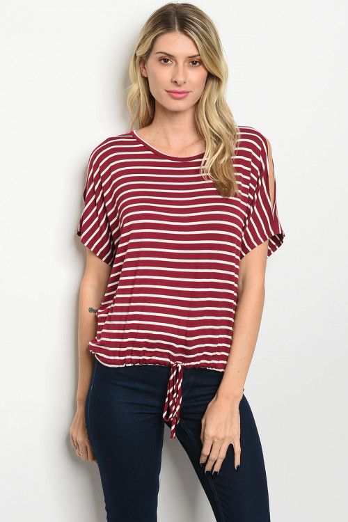 C10-B-3-T2521 WINE STRIPES TOP 2-2-2
