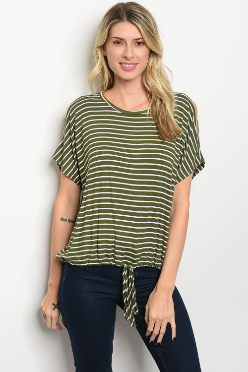 C12-B-2-T2521 OLIVE STRIPES TOP 2-2-2