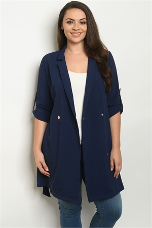 S9-5-3-J3594X NAVY PLUS SIZE JACKET 3-2-1