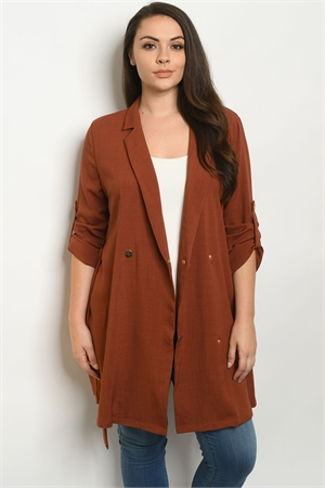 S9-5-3-J3594X RUST PLUS SIZE JACKET 3-2-1