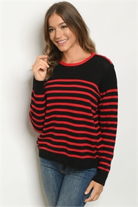 S14-7-3-S1523 BLACK RED STRIPES SWEATER / 3PCS