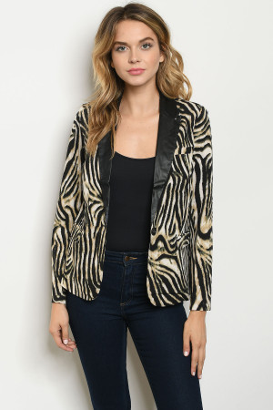 S23-4-2-B7014 TAUPE BLACK ANIMAL PRINT BLAZER 2-2-2