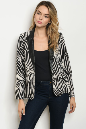 S16-4-3-B7014 BLACK OFF WHITE ANIMAL PRINT BLAZER 2-2-2