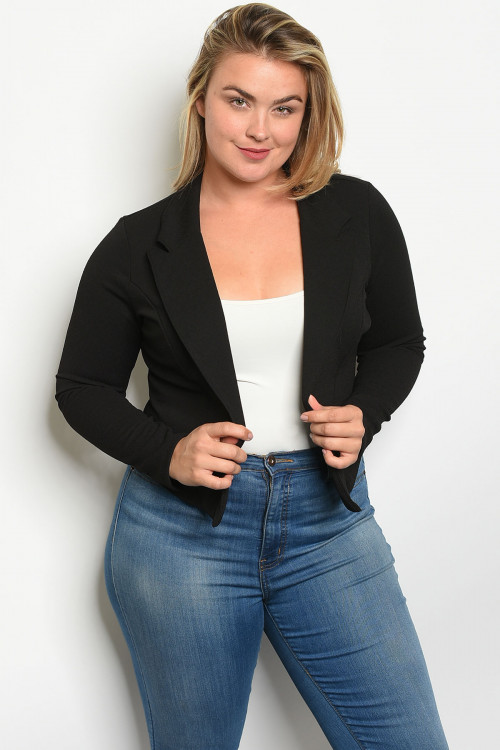 C14-B-5-B5994X BLACK PLUS SIZE BLAZER 2-2-2