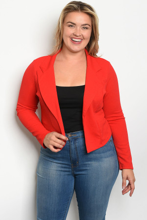 C18-B-3-B5994X RED PLUS SIZE BLAZER 2-2-2
