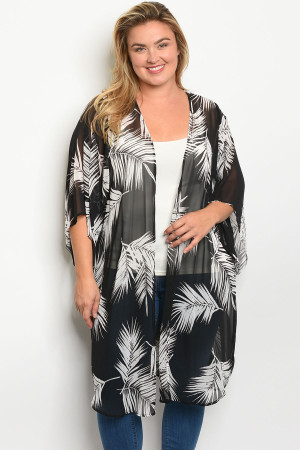 C36-A-3-K12393X BLACK WHITE WITH PALM PRINT PLUS SIZE KIMONO 2-2-2