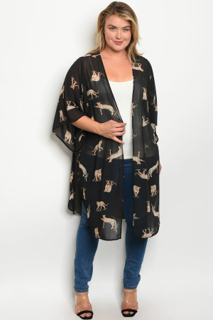 C40-A-6-K12393X BLACK WITH CHEETAH PRINT PLUS SIZE KIMONO 2-2-2