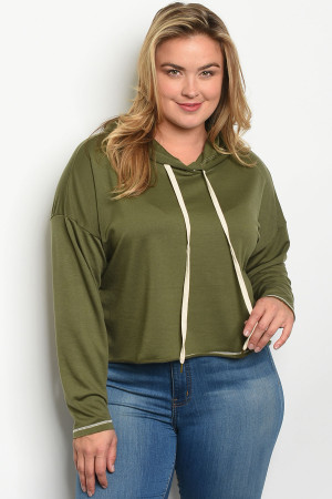 C42-B-2-T13567X OLIVE PLUS SIZE TOP 3-2-1
