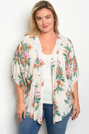 C26-B-4-K13817X CREAM WITH FLOWER PRINT PLUS SIZE KIMONO 2-2-2