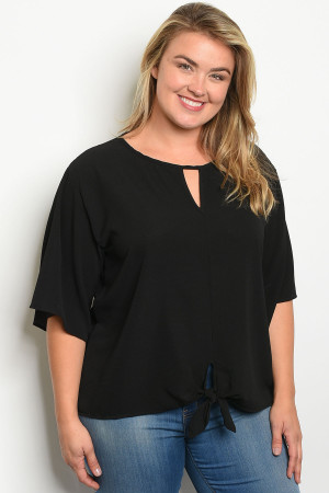 C46-A-2-T13309X BLACK PLUS SIZE TOP 2-2-2