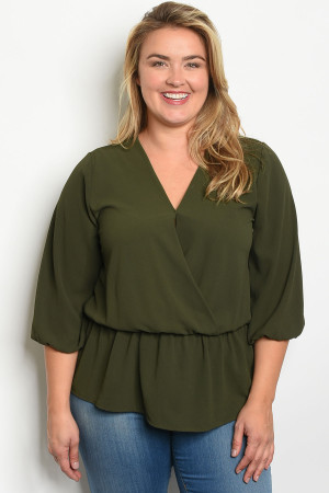S14-3-5-T1108X OLIVE PLUS SIZE TOP 2-2-2