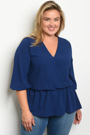 S9-1-5-T1108X NAVY PLUS SIZE TOP 2-2-2
