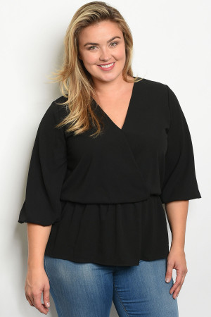 S11-1-5-T1108X BLACK PLUS SIZE TOP 2-2-2