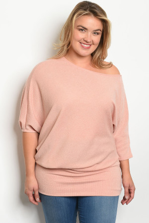 S20-4-3-T13523X BLUSH PLUS SIZE TOP 2-2-2