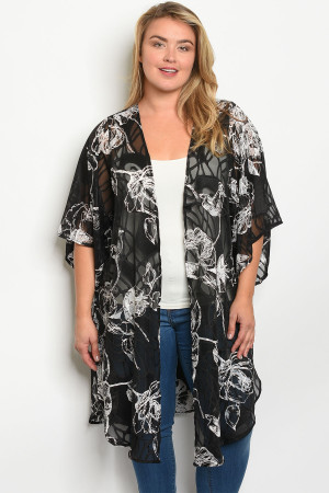 S19-7-1-K12393X BLACK WHITE WITH FLOWER PRINT PLUS SIZE KIMONO 2-4-2