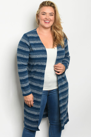 S19-3-5-C7003X TEAL STRIPES PLUS SIZE CARDIGAN 2-2-2