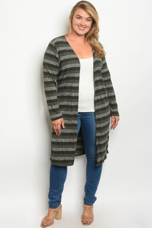 S20-2-1-C7003X OLIVE STRIPES PLUS SIZE CARDIGAN 2-2-2