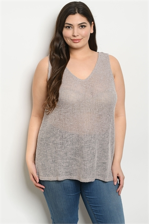 S12-4-2-T8622X TAUPE PLUS SIZE TOP 3-2-1