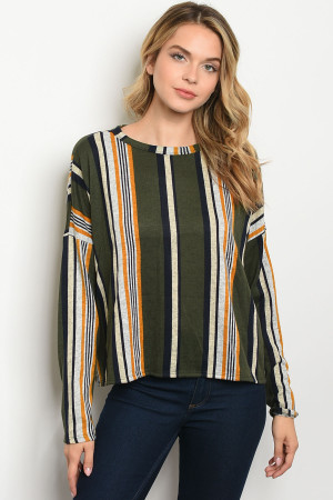 C8-B-3-T2689 OLIVE MULTY STRIPES TOP 2-2-2