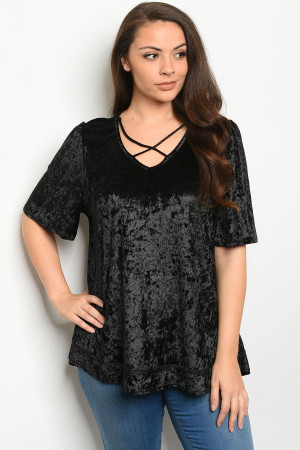 C32-B-4-T7891X BLACK VELVET PLUS SIZE TOP 3-2-1