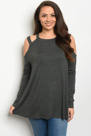 C34-A-5-D5194X CHARCOAL PLUS SIZE TOP 3-2-1